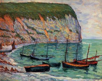 Maxime Maufra : Fishing Boats on the Shore