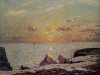 Maxime Maufra : On the Cliffs of Belle Isle on Mer, Sunset