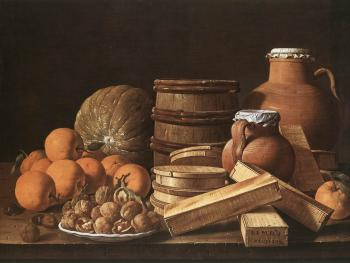 Luis Egidio Melendez : Still Life with Oranges and Walnuts