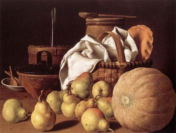 Luis Egidio Melendez : Still-life with Melon and Pears