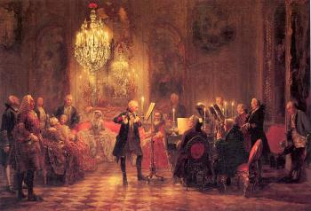 Adolph Von Menzel : A Flute Concert of Frederick the Great at Sanssouci