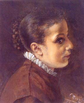 Adolph Von Menzel : Head of a Girl