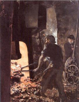 Self-Portrait with Worker near the Steam-hammer