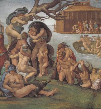Ceiling of the Sistine Chapel, Genesis, Noah 7-9, The Flood, left view