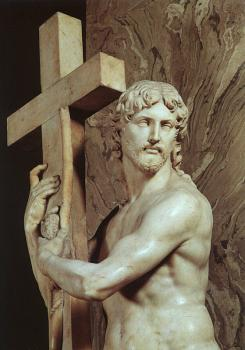 Michelangelo : Christ Carrying the Cross, detail, marble sculpture