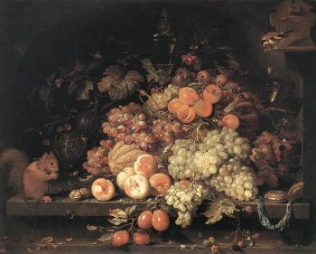 Abraham Mignon : Fruit Still-Life with Squirrel and Goldfinch