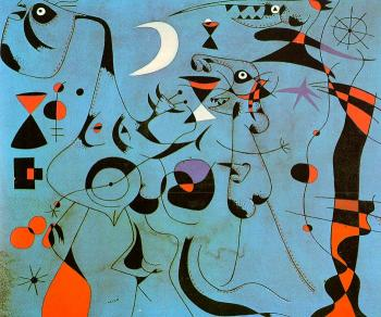Joan Miro : Personages in the Night Guided by the Phosphorescent Tracks of Snails