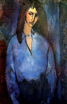 Amedeo Modigliani : Girl wearing a blue shirt