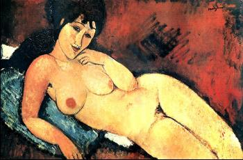 Amedeo Modigliani : Nude on a Blue Cushion