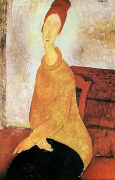 Amedeo Modigliani : Jeanne Hebuterne In A Yellow Sweater