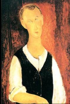Amedeo Modigliani : Young Man With A Black Waistcoat