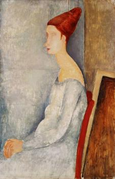 Amedeo Modigliani : Jeanne Hbuterne Seated in Profile