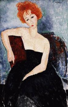 Amedeo Modigliani : ung Redhead in an Evening Dress