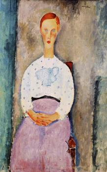 Amedeo Modigliani : Girl with Polka-Dot Blouse