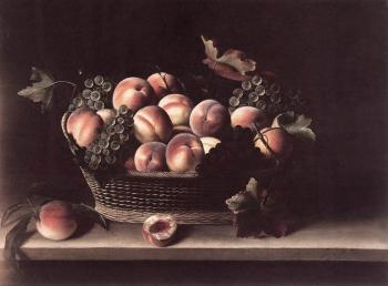 Louise Moillon : Basket with Peaches and Grapes
