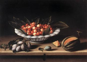 Louise Moillon : Cup of Cherries and Melon