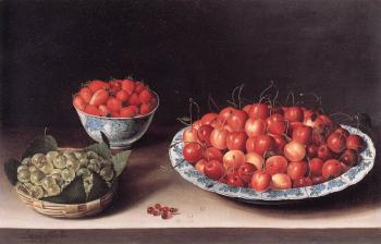 Louise Moillon : Still-Life with Cherries, Strawberries and Gooseberries