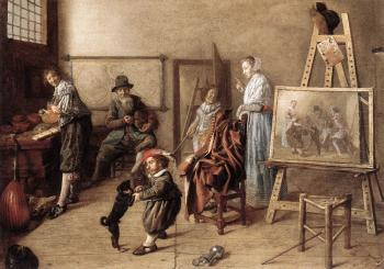 Jan Miense Molenaer : Painter in His Studio, Painting a Musical Company