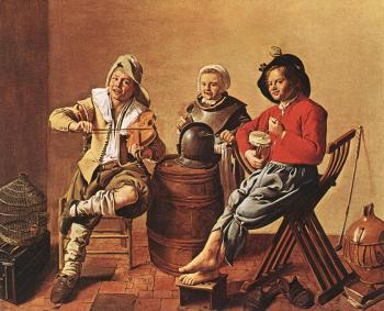 Jan Miense Molenaer : Two Boys and a Girl Making Music