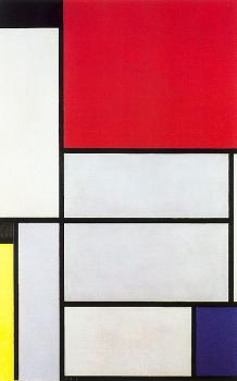 Composition with Black, Red, Gray, Yellow, and Blue
