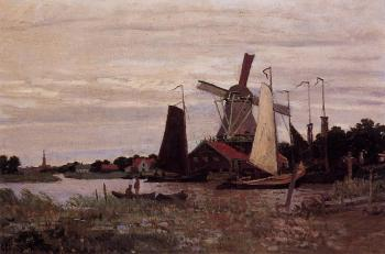 Claude Oscar Monet : A Windmill at Zaandam