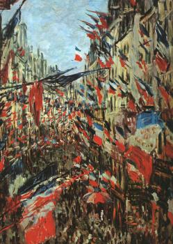 Claude Oscar Monet : Rue Montargueil with Flags
