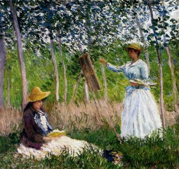 Claude Oscar Monet : In The Woods At Giverny, BlancheHoschede Monet At Her Easel With Suzanne Hoschede Reading