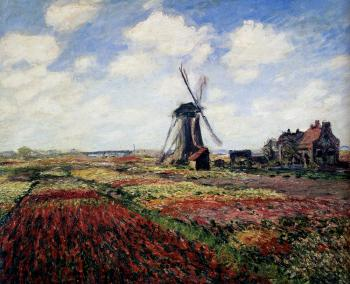 Claude Oscar Monet : Tulip Fields With The Rijnsburg Windmill