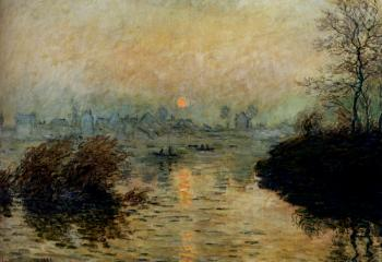 Claude Oscar Monet : Sun Setting Over The Seine At Lavacourt, Winter Effect