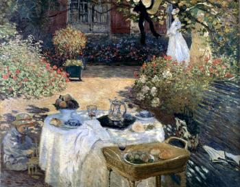 Claude Oscar Monet : The Luncheon (Monet's Garden At Argenteuil)