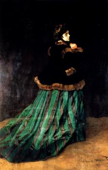 Claude Oscar Monet : Woman In A Green Dress