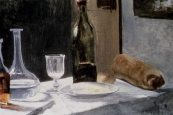 Claude Oscar Monet : Still Life With Bottles