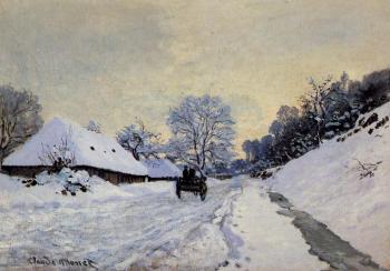 Claude Oscar Monet : A Cart on the Snow Covered Road with Saint-Simeon Farm