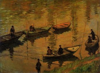 Claude Oscar Monet : Anglers on the Seine at Poissy