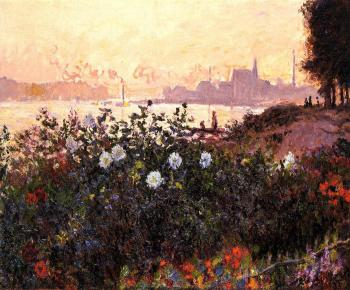 Claude Oscar Monet : Argenteuil, Flowers by the Riverbank
