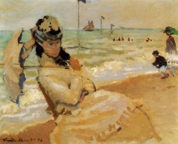 Claude Oscar Monet : Camille on the Beach at Trouville