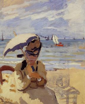 Claude Oscar Monet : Camille Sitting on the Beach at Trouville