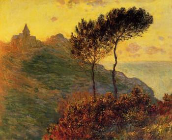 Claude Oscar Monet : Church at Varengeville, against the Sunset