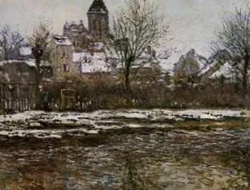 Claude Oscar Monet : Church at Vetheuil, Snow