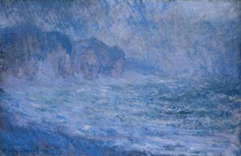 Claude Oscar Monet : Cliff at Pourville, Rain