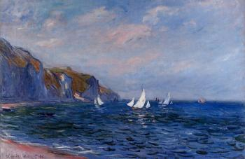 Claude Oscar Monet : Cliffs and Sailboats at Pourville