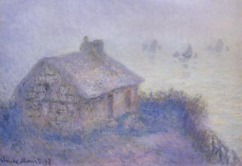 Claude Oscar Monet : Customs House at Varengeville in the Fog