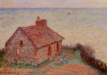 Claude Oscar Monet : Customs House at Varengeville, Rose Effect