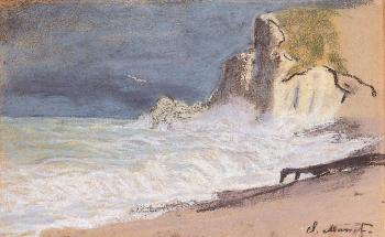 Claude Oscar Monet : Etretat, Amont Cliff, Rough Weather