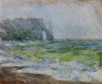 Claude Oscar Monet : Etretat in the Rain