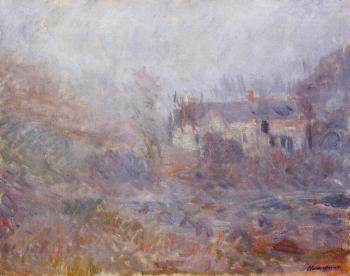 Claude Oscar Monet : Houses at Falaise in the Fog
