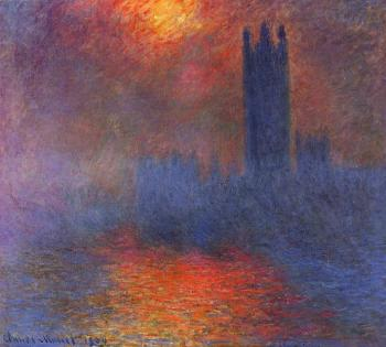 Claude Oscar Monet : Houses of Parliament, Effect of Sunlight in the Fog