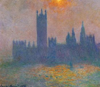 Claude Oscar Monet : Houses of Parliament, Effect of Sunlight in the Fog II