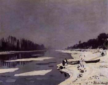 Claude Oscar Monet : Ice Floes on the Seine at Bougival