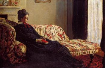Claude Oscar Monet : Meditation, Madame Monet Sitting on a Sofa